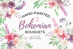 Bohemian Watercolour Floral Set
