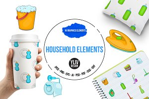 Household elements icons set, cartoo