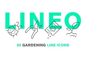 LINEO - 60 GARDENING LINE ICONS