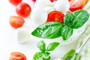 Mozzarella italian salad with basil