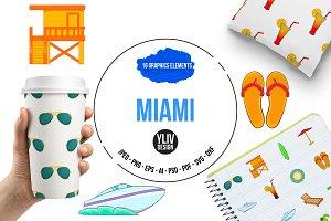 Miami icons set, cartoon style