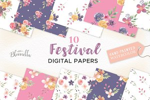 Festival Patterns Floral Flowers Set