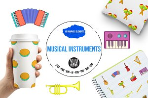 Musical instruments icons set, carto