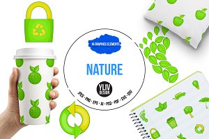 Nature icons set, cartoon style