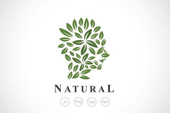 Female Leaf Head Logo Template