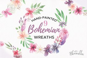 Bohemian Floral Wreath Clipart Set