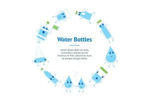Water Funny Bottle Banner Set