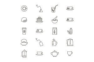 Tea Related Thin Line Set. Vector