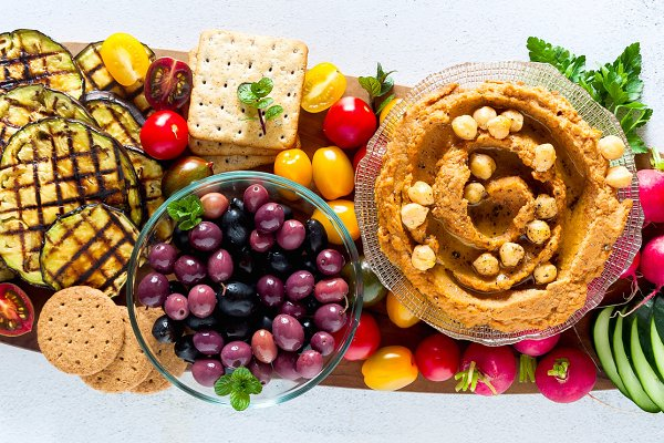 Banner Of Vegan Snack Board Flat Lay Of Various Vegetarian Dish High Quality Food Images Creative Market