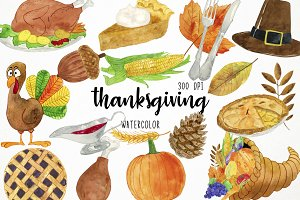 Watercolor Thanksgiving Clipart