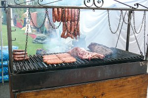 Meat and sausages grill