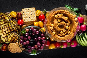 banner of Vegan snack board. Flat-lay of Various Vegetarian dish