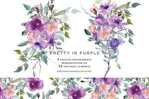 Watercolor Purple & Mauve Flowers