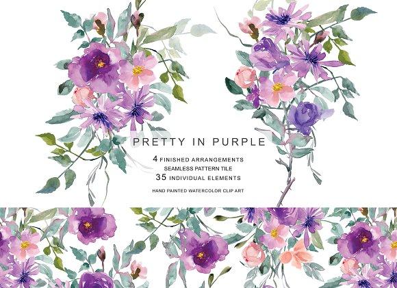 Watercolor Purple Mauve Flowers