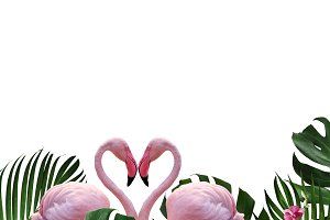 Flamingos and tropical leaves