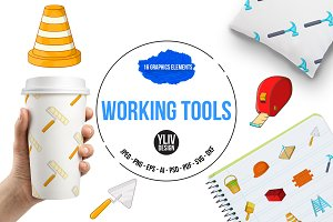 Working tools icons set, cartoon sty