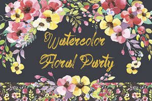 Watercolor Clipart - Floral Party