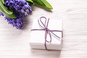 Gift box on wood background