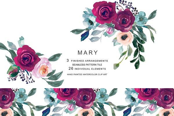Watercolor Burgundy Flowers Clipart…