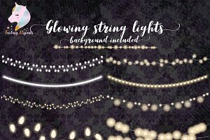 Glowing String Of Lights Clipart
