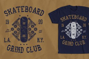 Skateboard Grind Club Shirt Design