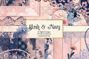 Blush and Navy Digital Scrapbook Kit