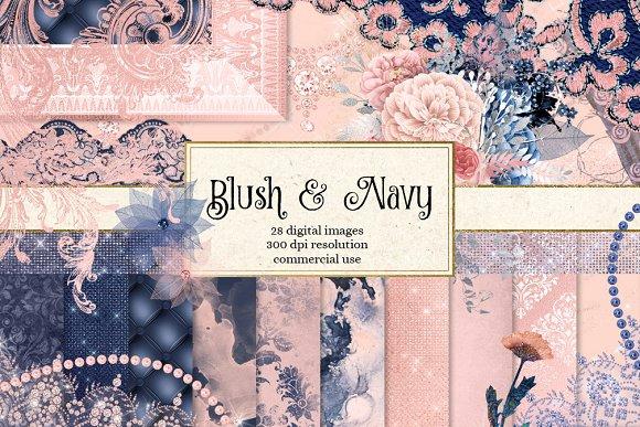 Blush and Navy Digital Scrapbook Kit