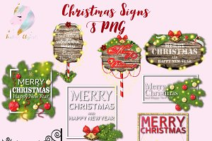Christmas Wooden Signs Clipart