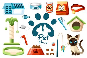 Set of pet shop icon