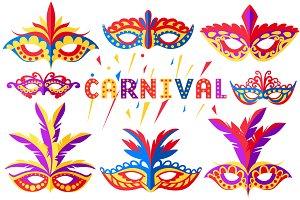 Set of carnival face masks