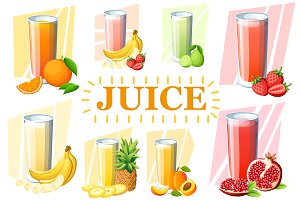 Set of juices and smoothies