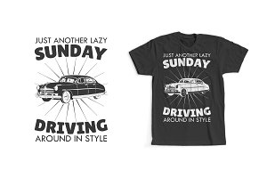 Sunday Driving T-Shirt Design