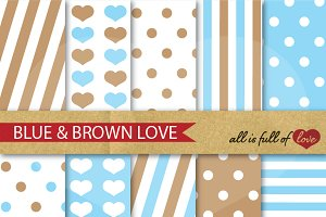 -40% Blue Brown Scrapbook Patterns