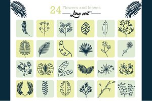 24 Flowers and Leaves - Line Art