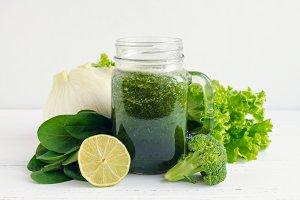 Healthy green vegetable juice