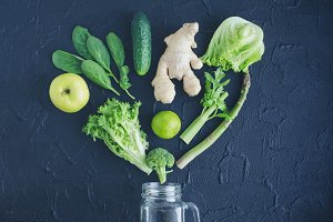 Green vegetables and fruits for smoothie