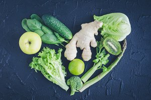 Heart shape from green vegetables and fruits