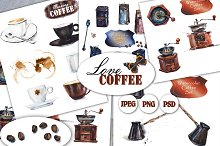 Watercolor coffee set.