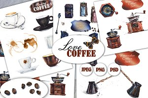 Watercolor coffee set.