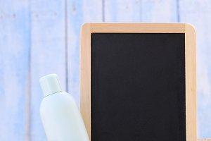 Sunscreen and blackboard.