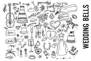 Wedding Bells Doodle Clipart PNGs