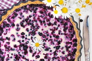 Homemade creamy blueberry tart