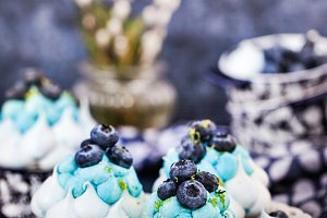 Delicious blueberry Pavlova cakes