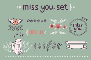 Miss you set / vector