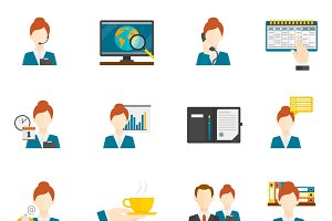 Personal assistant flat icons set
