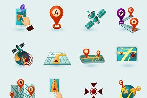 Navigation cartoon icons set
