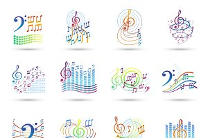 Music notes shadow icons set