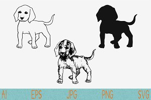 dog beagle set vector svg png eps