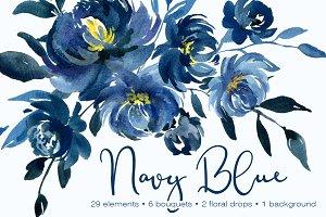 Navy Blue Watercolor Peonies Flowers