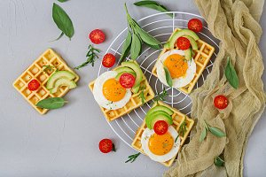 Healthy breakfast - waffles, eggs